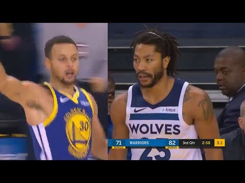 Stephen Curry & Derrick Rose Destroy Each Others Team in Amazing Duel! Warriors vs Timberwolves
