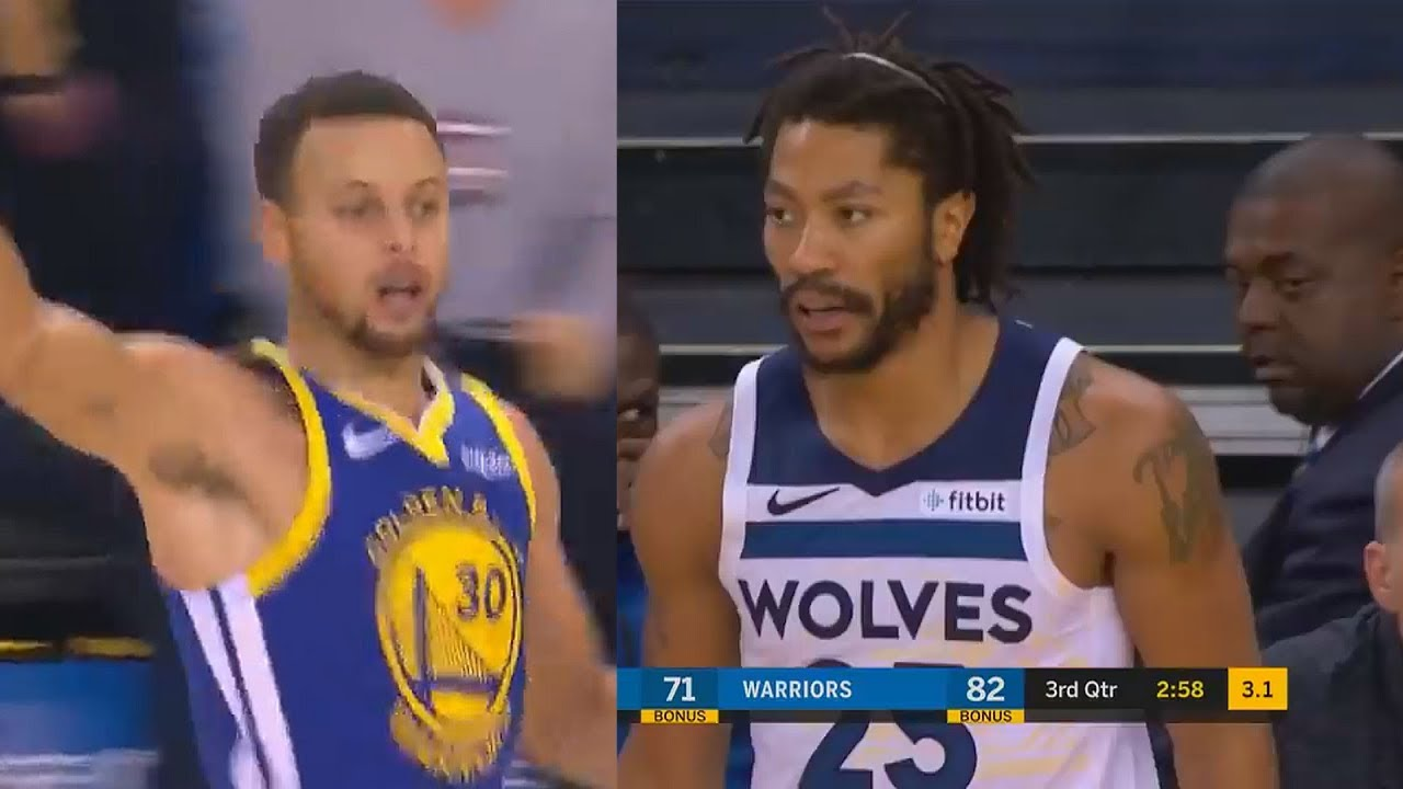 cb923cd94394 Stephen Curry   Derrick Rose Destroy Each Others Team in Amazing Duel!  Warriors vs Timberwolves