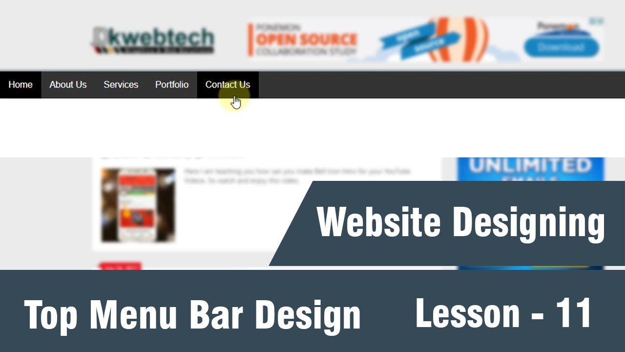 How To Design Top Menu Bar Complete Web Designing Tutorials In Hindi 11 Youtube