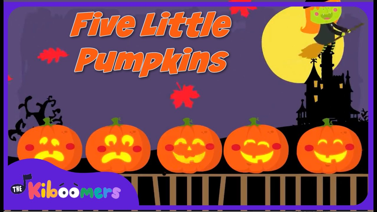 Cute Toddlers Playing Cartoon Wallpaper 5 Little Pumpkins Sitting On A Gate Halloween Songs For
