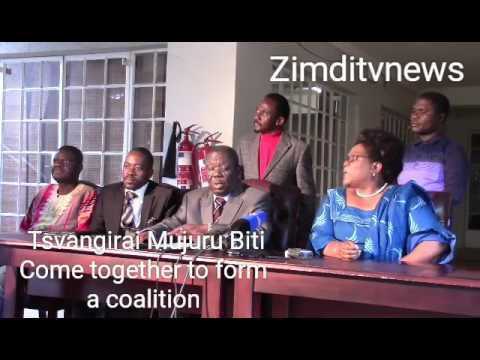 Tsvangirai Mujuru Biti and other opposition parties come together as a Coalition