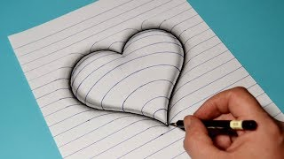 How to Draw 3D Embossed Heart on Paper / Trick Art Video For Kids
