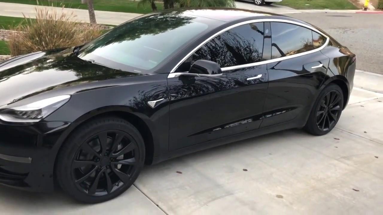 "Front Windshield Tint >> Tesla Model 3 - Powder Coat Wheels on 19"" Stock Sports ..."