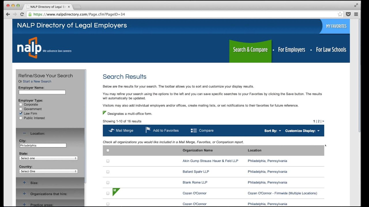 NALP Directory of Legal Employers | Home