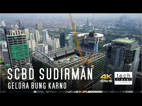 [4K] SCBD Sudirman + Gelora Bung Karno dari Udara