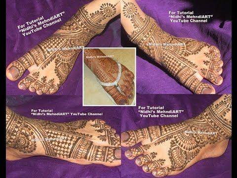 Leg Mehndi Designs Step By Step : Traditional bridal wedding feet leg henna mehndi design tutorial