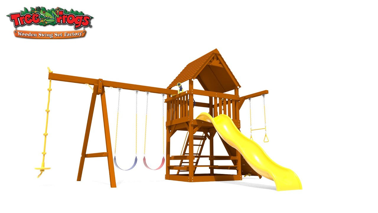 Tree Frogs Wooden Swing Set Factory Parrot Island Fort With Wood