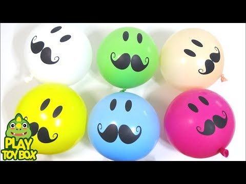 """Colorful Mustache Face"" Balloon Surprise Egg Toys Learn Colors For Children Kid"