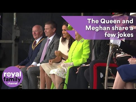Queen and Meghan, Duchess of Sussex, spotted sharing a few jokes