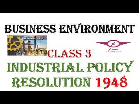 Business Environment|| Industrial Policy resolution 1948|| class 3||Ugcnet Commerce /8948156741