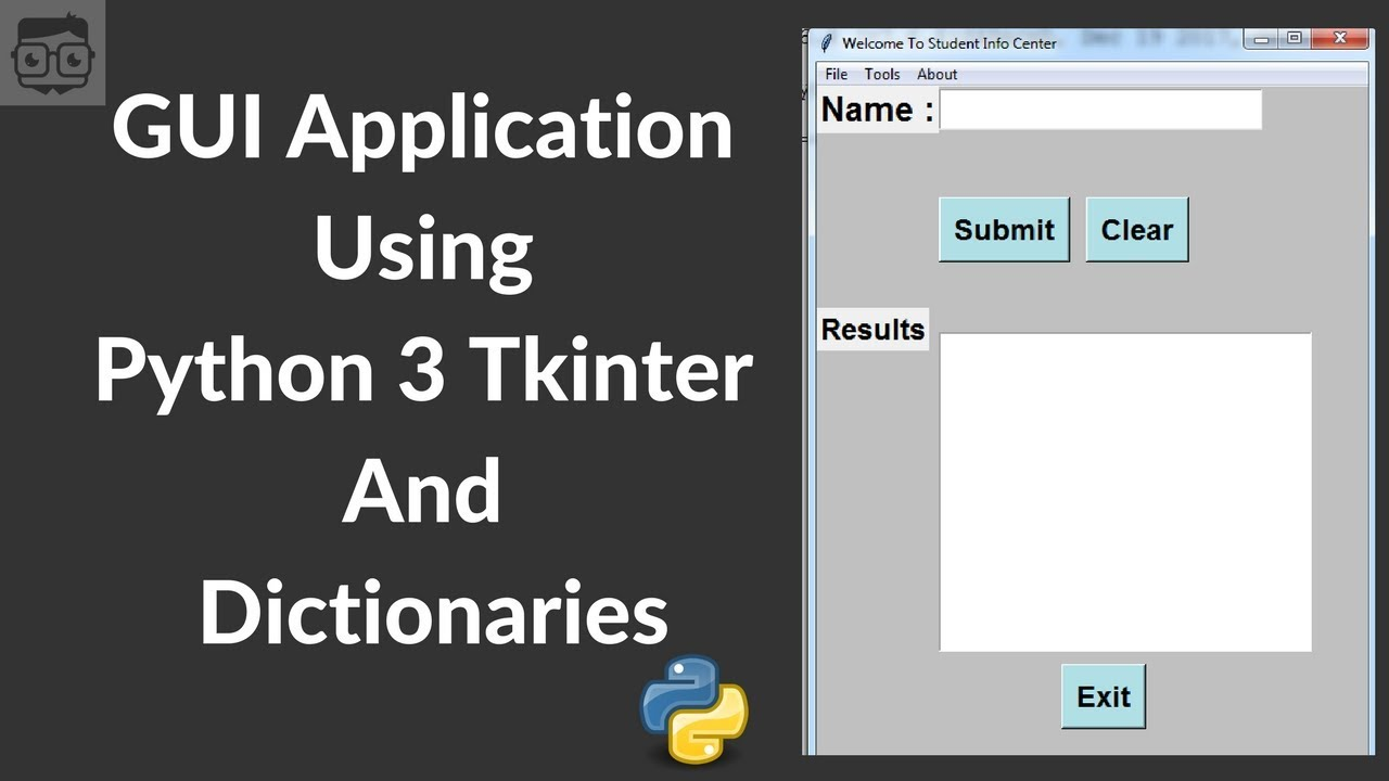 GUI Application With Tkinter (Python 3) & Dictionaries - Student Details