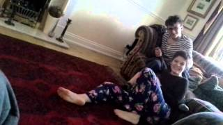 Funny brother and sister wrestling match
