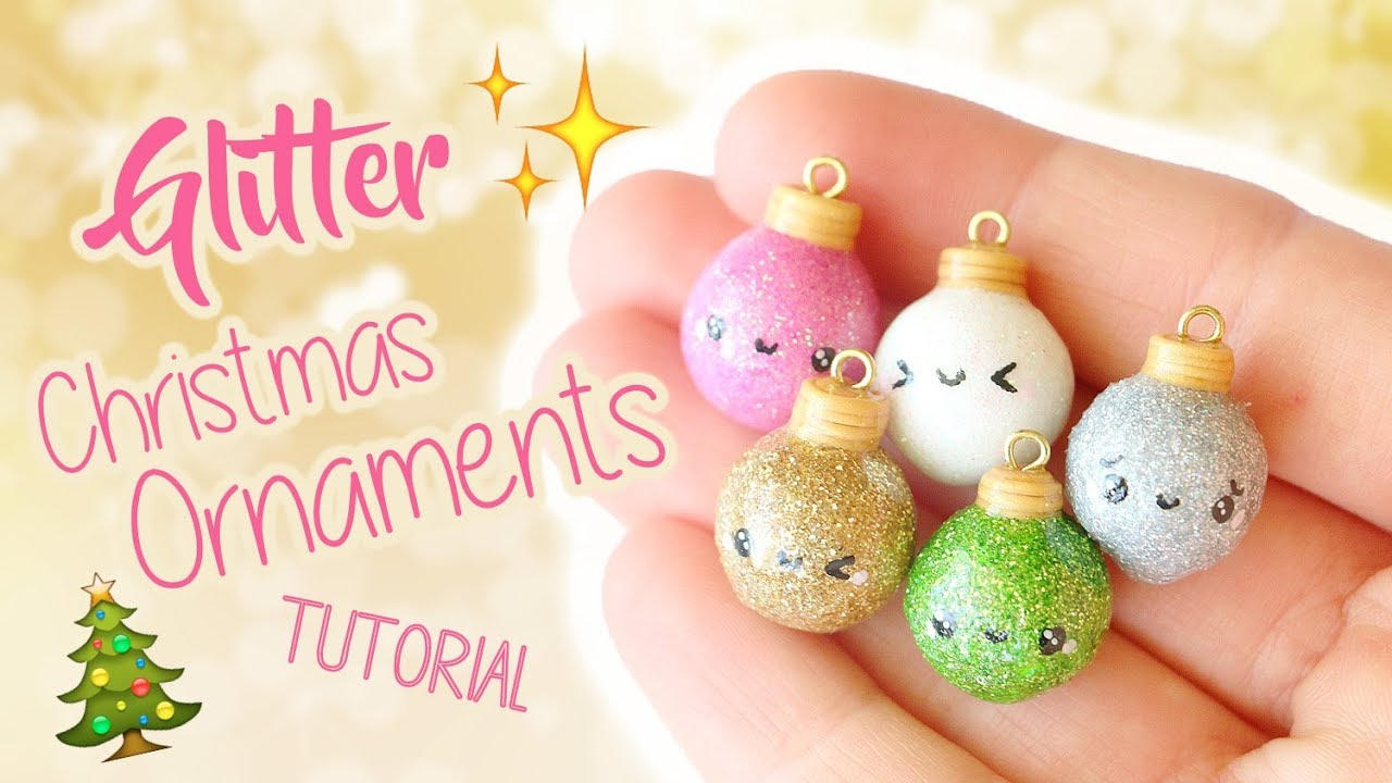 Polymer Clay Christmas Tree Decorations.Kawaii Glitter Christmas Ornaments Polymer Clay Tutorial