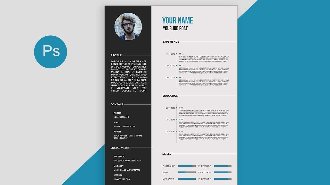 CV/Resume Template Design Tutorial With Photoshop Free PSD+DOCS+PDF  Resume Template Design