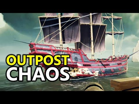 ♥ 3 Galleons & A Sloop Sail To An Outpost - Massive Pirate Battle - Sea of Thieves PvP