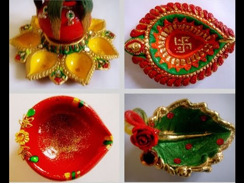 Diwali special beautiful decorated diyas kodiyu youtube for Diya decoration youtube