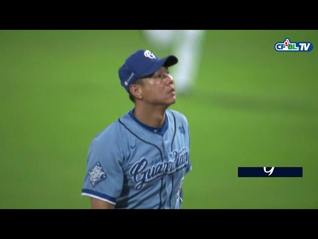 09/22 統一 vs 富邦 六局上,一壘方向平飛球,直直飛進林益全手套
