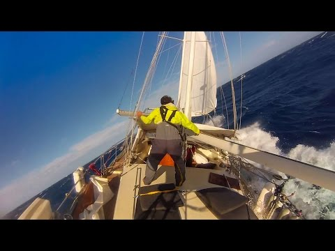 Sailing in BIG WIND and WILD SEAS!!! (Short Clip)