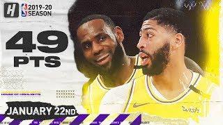 LeBron James & Anthony Davis 49 Points Combined Highlights vs Knicks | January 22, 2020