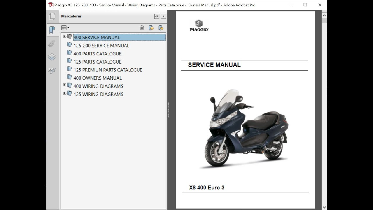 Piaggio X8 125, 200, 400 - Service Manual - Wiring Diagrams - Parts  Catalogue - Owners Manual - YouTube | X8 Wiring Diagram |  | YouTube
