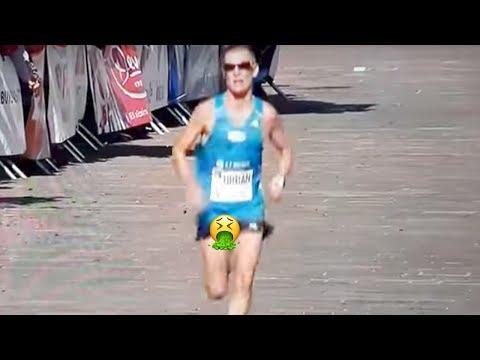 Marathon Runner Doesn't Feel His D*ck & Balls Flopping Around