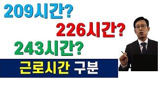 근로시간 구분/월통상임금산정기준시간