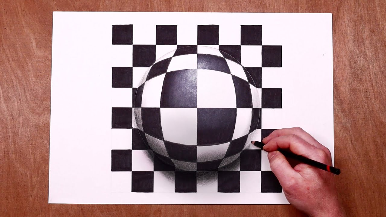 Easy 3D Trick Art - Sphere Illusion Drawing!