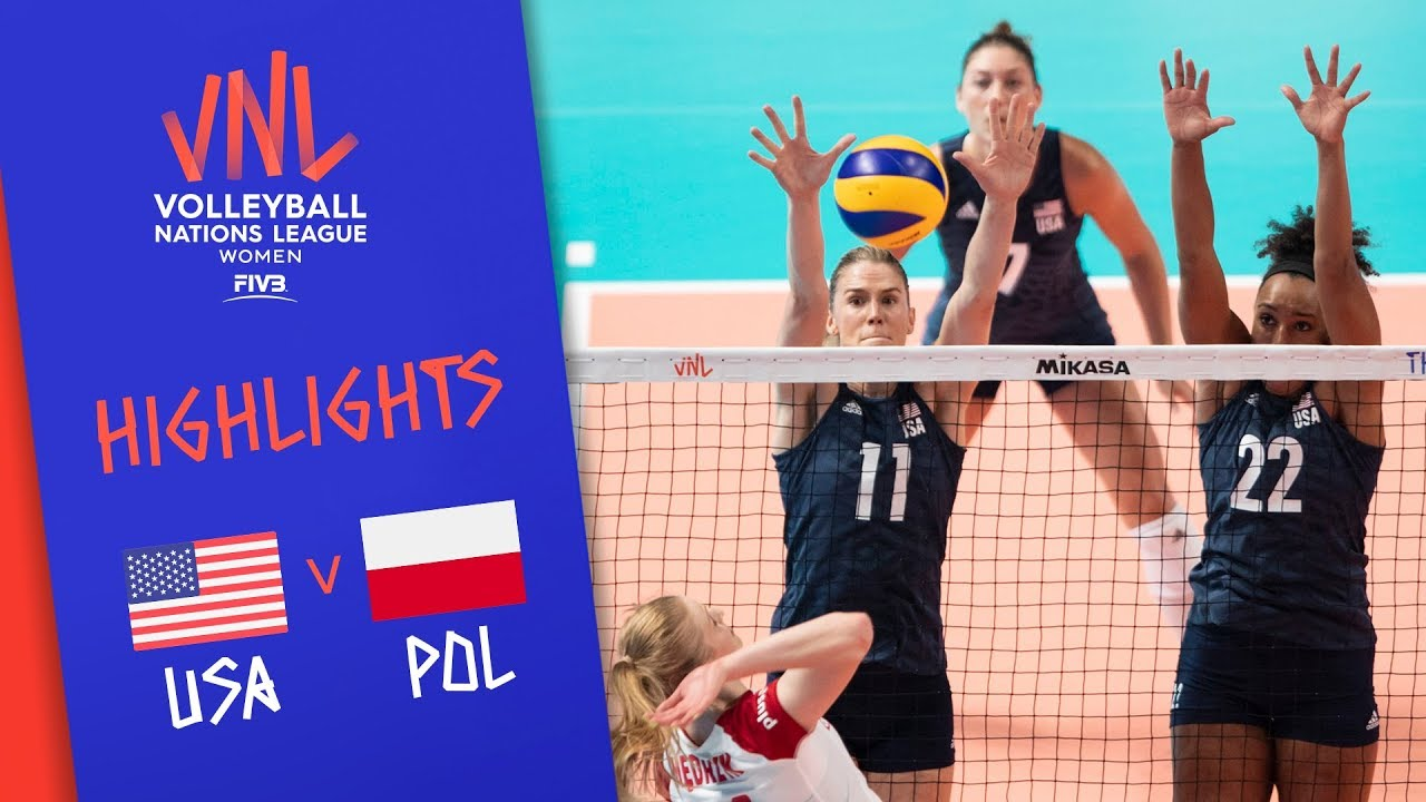 USA vs  POLAND - Highlights Women | Final Round | FIVB Volleyball Nations  League 2019