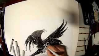 How to draw a crow.