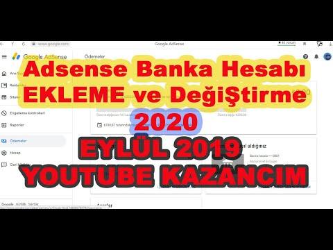 Adsense Banka hesabı ekleme Banka hesabı değiştirme ve Eylül ayı Youtube Kazancım inetrnetten para