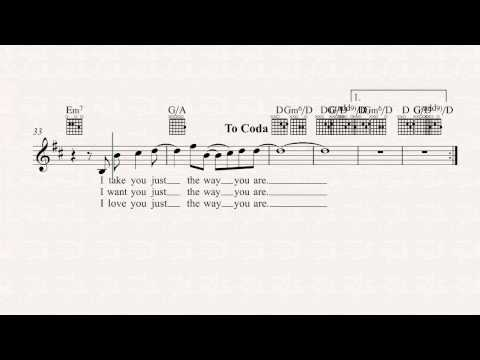Guitar - Just the Way You Are - Billy Joel - Sheet Music, Chords, & Vocals