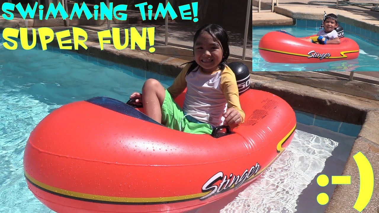 Fun Summer Swimming Pool Playtime Inflatable Rubber Boat And Thomas The Tank Engine Youtube