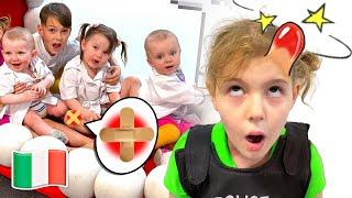 Cinque Bambini giocano La storia del Boo boo per bambini