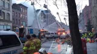 FDNY BATTLING 7 ALARM 10-60 MAJOR BUILDING COLLAPSE & FIRE ON 2ND AVENUE IN MANHATTAN, NEW YORK.