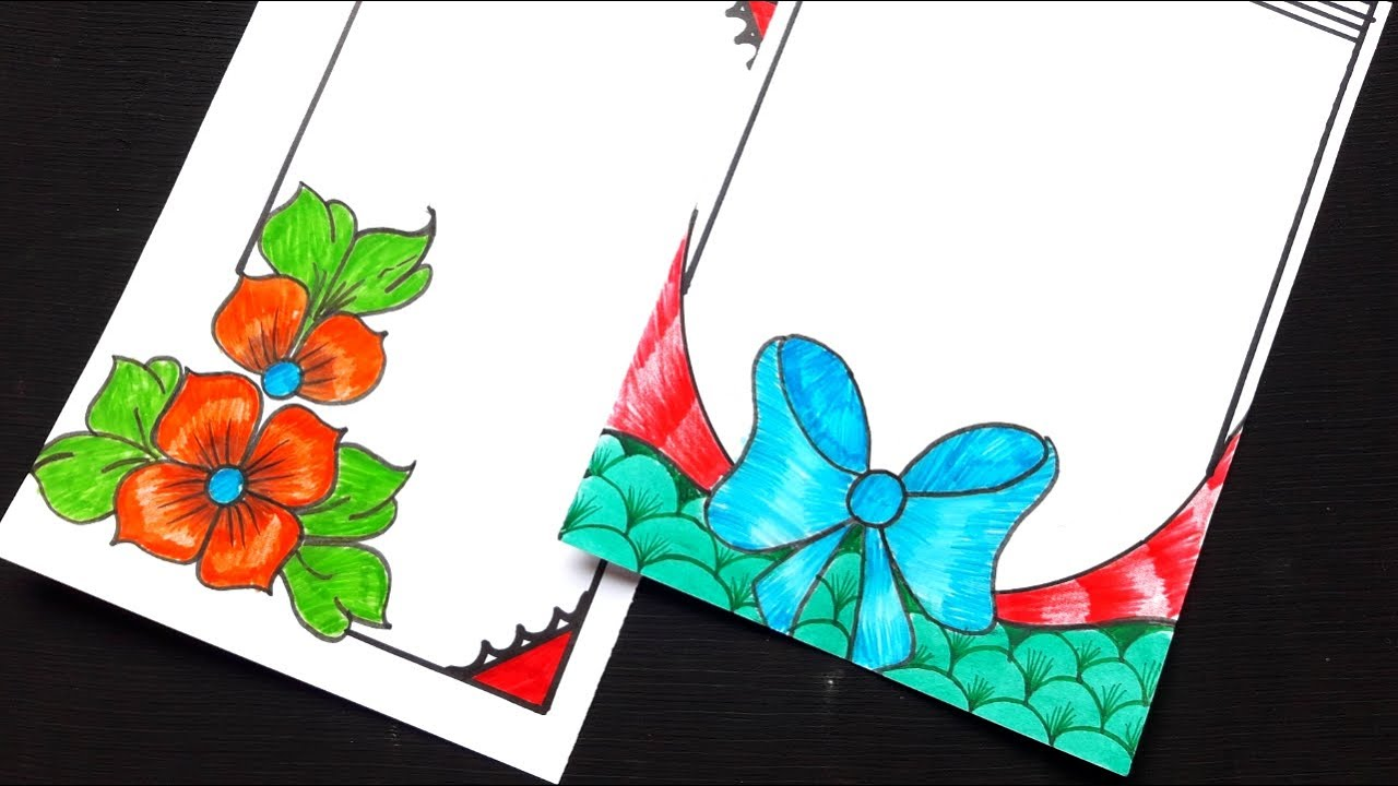 beautiful border design to draw // front page decoration