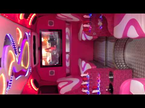 Amazing pink party bus only at herts limos youtube for Bus mallemort salon