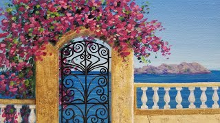 Ocean View Doorway Seascape Acrylic Painting LIVE Instruction