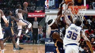 Kevin durant 6 blocks! loses a shoe, scores block party! warriors vs pelicans 2017-18 season