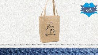 Женская сумка стандарт из ткани рогожка бежевая «I love my mom» купить в Украине - обзор