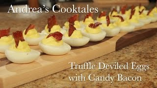 Truffle Deviled Eggs With Candy Bacon