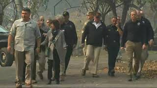 Trump sees Calif. wildfire devastation up close