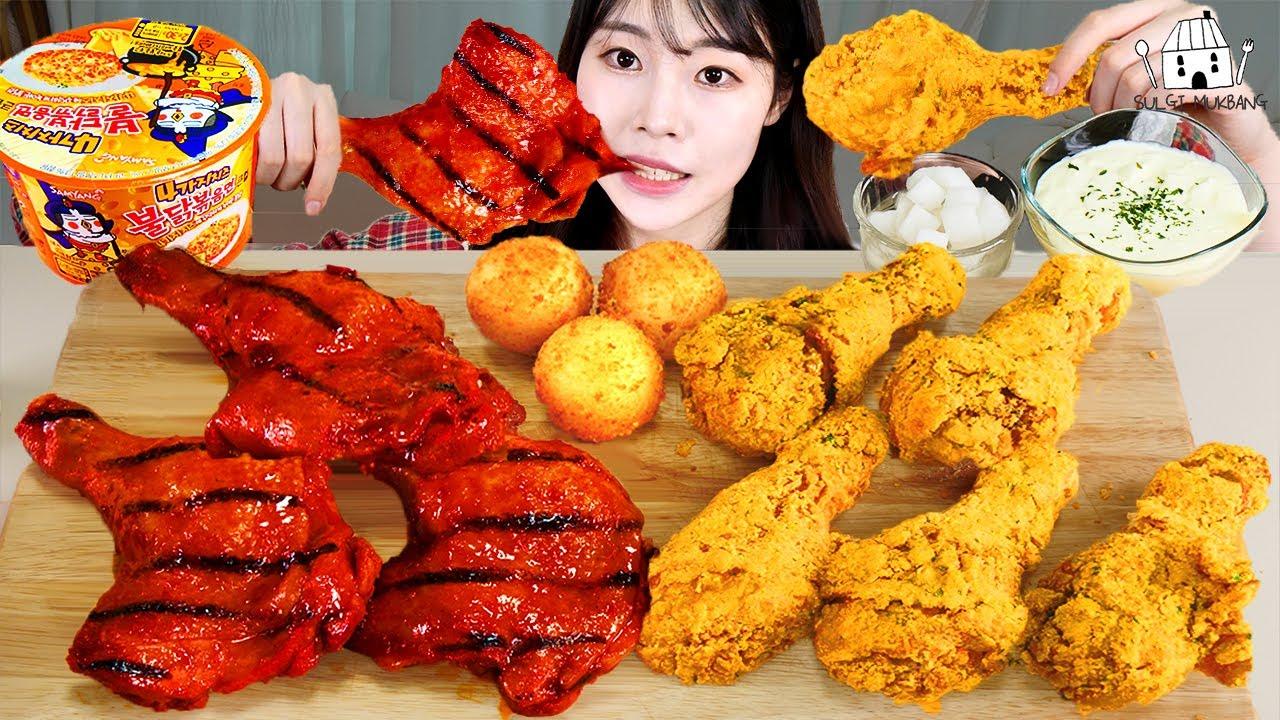 ASMR MUKBANG| 직접 만든 불닭볶음면 뿌링클 양념치킨 치즈볼 먹방 & 레시피 FRIED CHICKEN AND FIRE NOODLES EATING