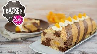 Biskuitrolle mit Nougatsahne und Pfirsichstücken   Backen mit Globus & Sallys Welt #50