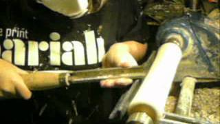 Making a Welsh Bagpipe - rough turning a chanter.