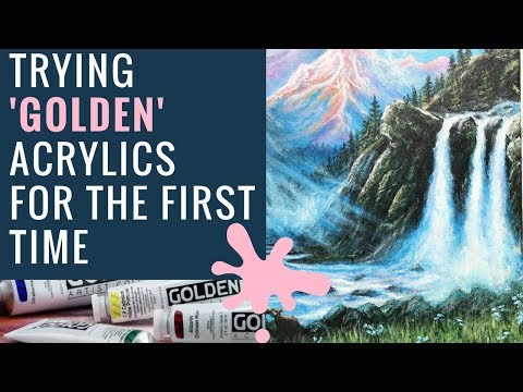 Mountain/Waterfall Painting |Time-lapse | Golden acrylics