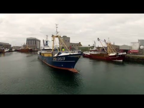 Aerial Film of Peterhead Harbour, Aberdeenshire, Scotland.