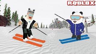 We're the Fastest Sliding! - Roblox Ski Resort with Panda