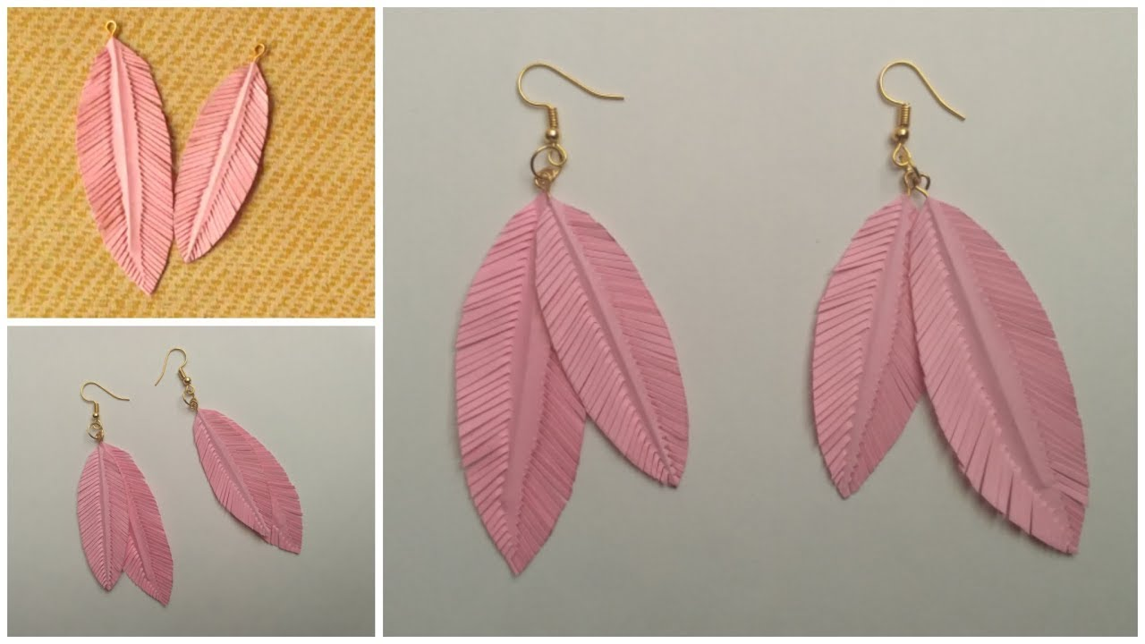 How To Make Paper Feather Earrings Easily At Home Making Diy