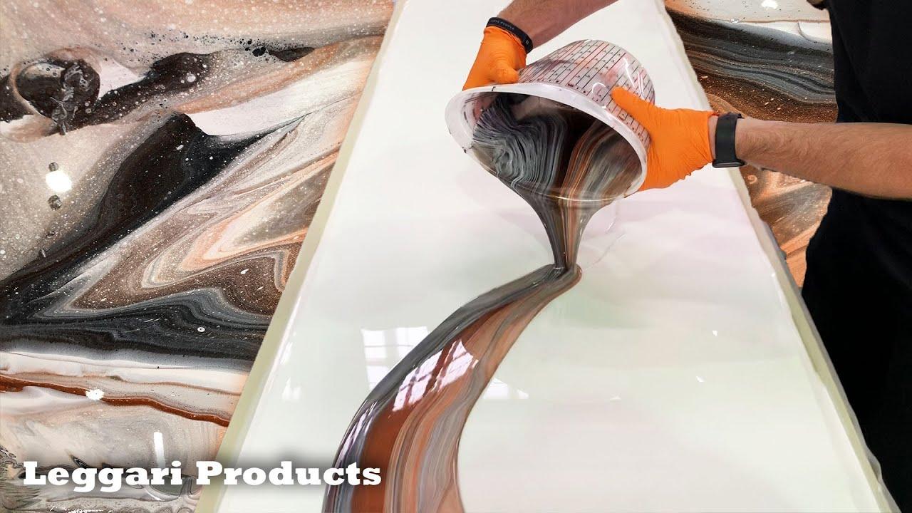 Epoxy Dirty Pour Technique On Custom Countertops Tutorial | DIY Countertop Remodel Ideas