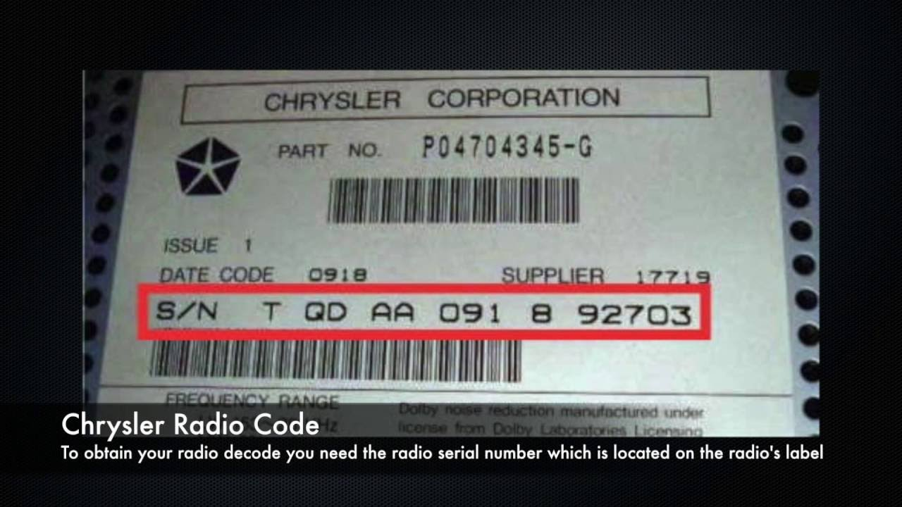 Chrysler Radio Codes From Serial Number All Models Pt